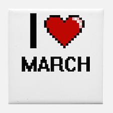 I Love March Tile Coaster