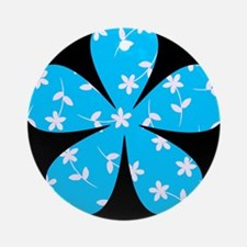 Blue Patterned Floral Amie's Fave Ornament (Round)