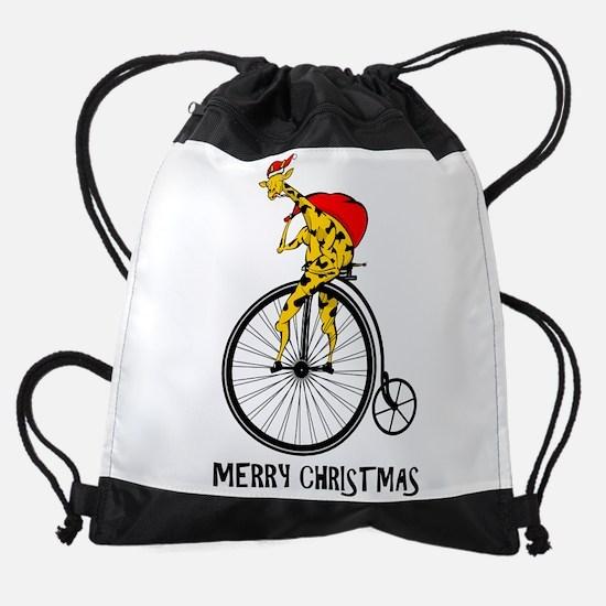 Santa Claus Christmas Giraffe Drawstring Bag