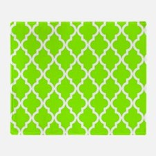 Green, Lime: Quatrefoil Moroccan Pat Throw Blanket