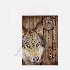 vintage Americana wild wolf Greeting Cards