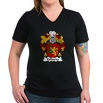 Valbuena Family Crest  Women's V-Neck Dark T-Shirt