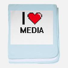I Love Media baby blanket