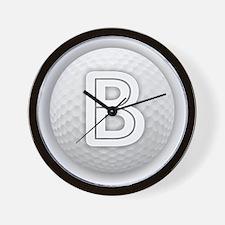 B Golf Ball - Monogram Golf Ball - Mono Wall Clock