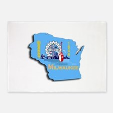 MILWAUKEE WI CITY FLAG 5'x7'Area Rug