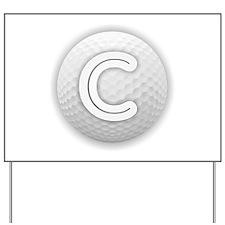 C Golf Ball - Monogram Golf Ball - Monog Yard Sign