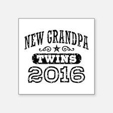 "New Grandpa Twins 2016 Square Sticker 3"" x 3"""