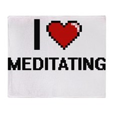 I Love Meditating Throw Blanket