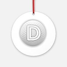 D Golf Ball - Monogram Golf Ball - Round Ornament