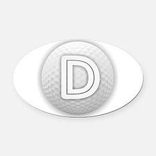 D Golf Ball - Monogram Golf Ball - Oval Car Magnet
