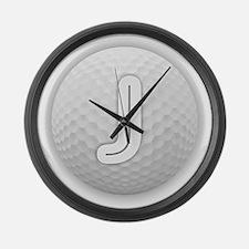 J Golf Ball - Monogram Golf Ball Large Wall Clock