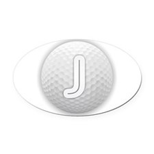 J Golf Ball - Monogram Golf Ball - Oval Car Magnet