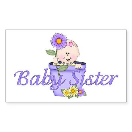 Baby Sister Flowerpot Rectangle Sticker