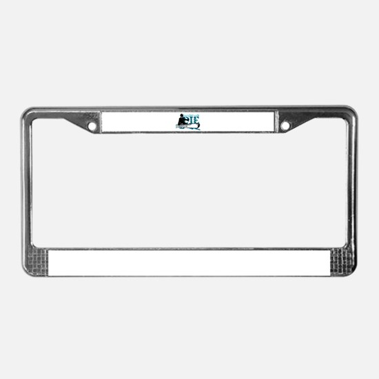 board or die snowboarder License Plate Frame