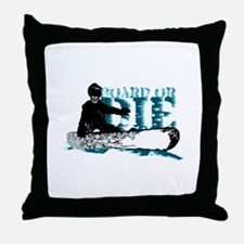 board or die snowboarder Throw Pillow