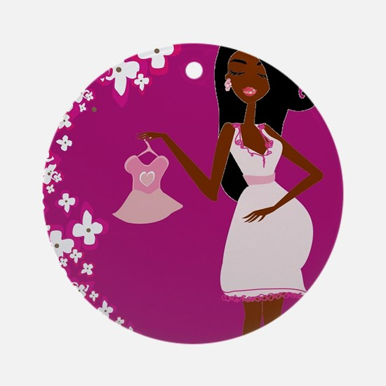 african american pregnant Ornament (Round)