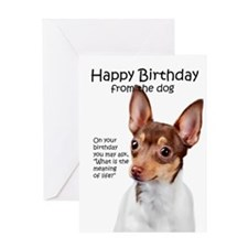Funny Toy Fox Terrier Birthday Greeting Cards