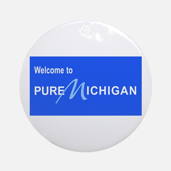 Welcome to Pure Michigan Round Ornament