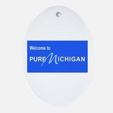 Welcome to Pure Michigan Oval Ornament