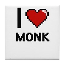 I Love Monk Tile Coaster