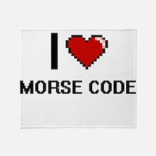I Love Morse Code Throw Blanket