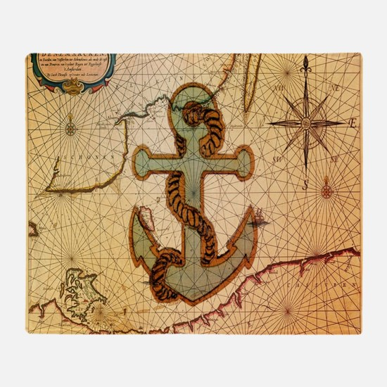 vintage nautical map anchor Throw Blanket