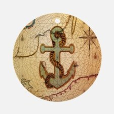 vintage nautical map anchor Round Ornament