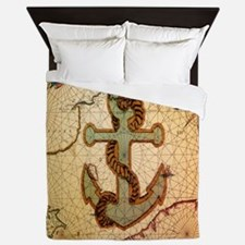vintage nautical map anchor Queen Duvet