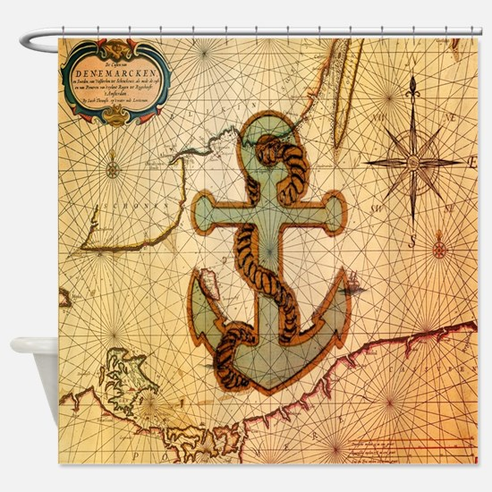 vintage nautical map anchor Shower Curtain