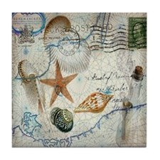 vintage nautical beach sea shells Tile Coaster