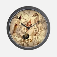 vintage nautical seashells sailor Wall Clock