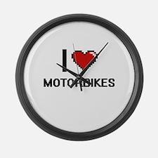I Love Motorbikes Large Wall Clock