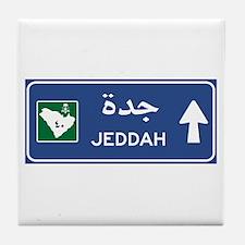 Jeddah Road Sign, Saudi Arabia Tile Coaster
