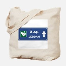 Jeddah Road Sign, Saudi Arabia Tote Bag