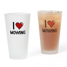 I Love Mowing Drinking Glass