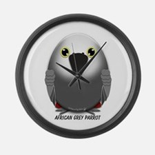 African Grey Parrot Large Wall Clock