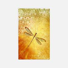 Golden dragonfly Area Rug