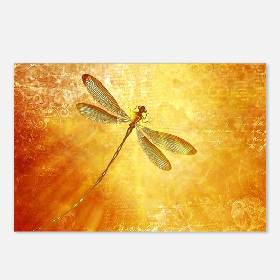 Golden dragonfly Postcards (Package of 8)