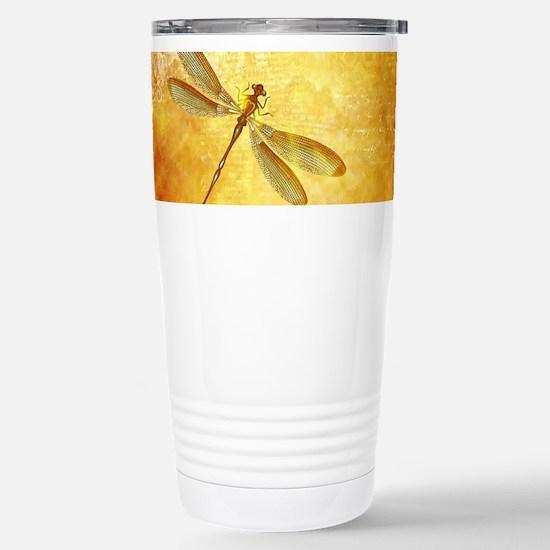 Golden dragonfly Stainless Steel Travel Mug