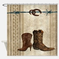 primitive western cowboy boots Shower Curtain
