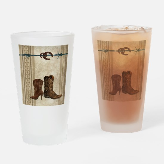 primitive western cowboy boots Drinking Glass
