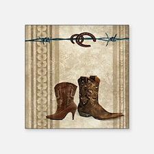"primitive western cowboy bo Square Sticker 3"" x 3"""
