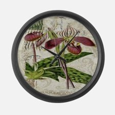 vintage french botanical orchid Large Wall Clock