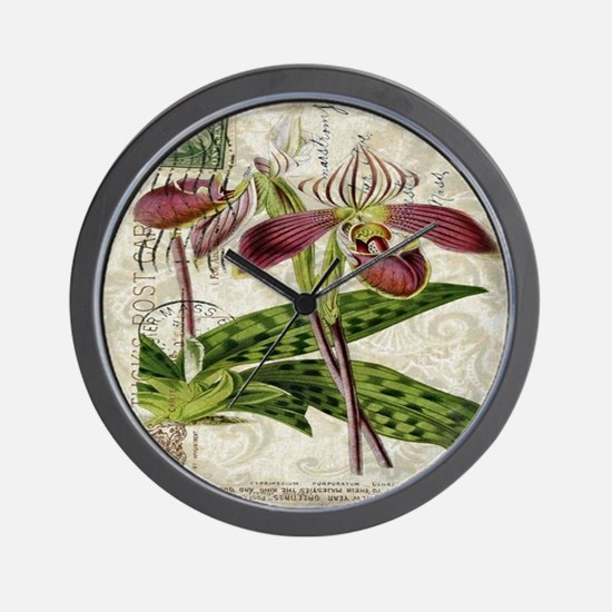 vintage french botanical orchid Wall Clock