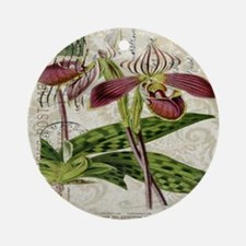 vintage french botanical orchid Round Ornament