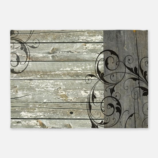 swirls primitive barn wood 5'x7'Area Rug