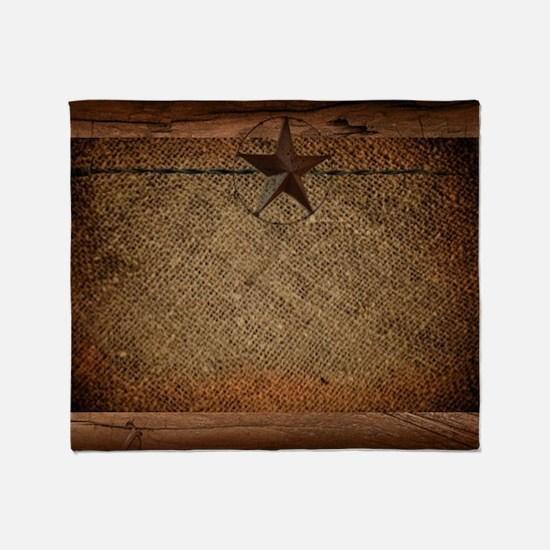 burlap barn wood texas star  Throw Blanket