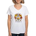 Sacristan Family Crest Women's V-Neck T-Shirt