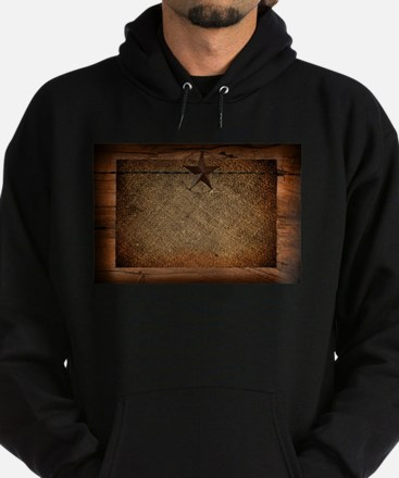 burlap barn wood texas star Hoodie (dark)