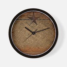 burlap barn wood texas star Wall Clock